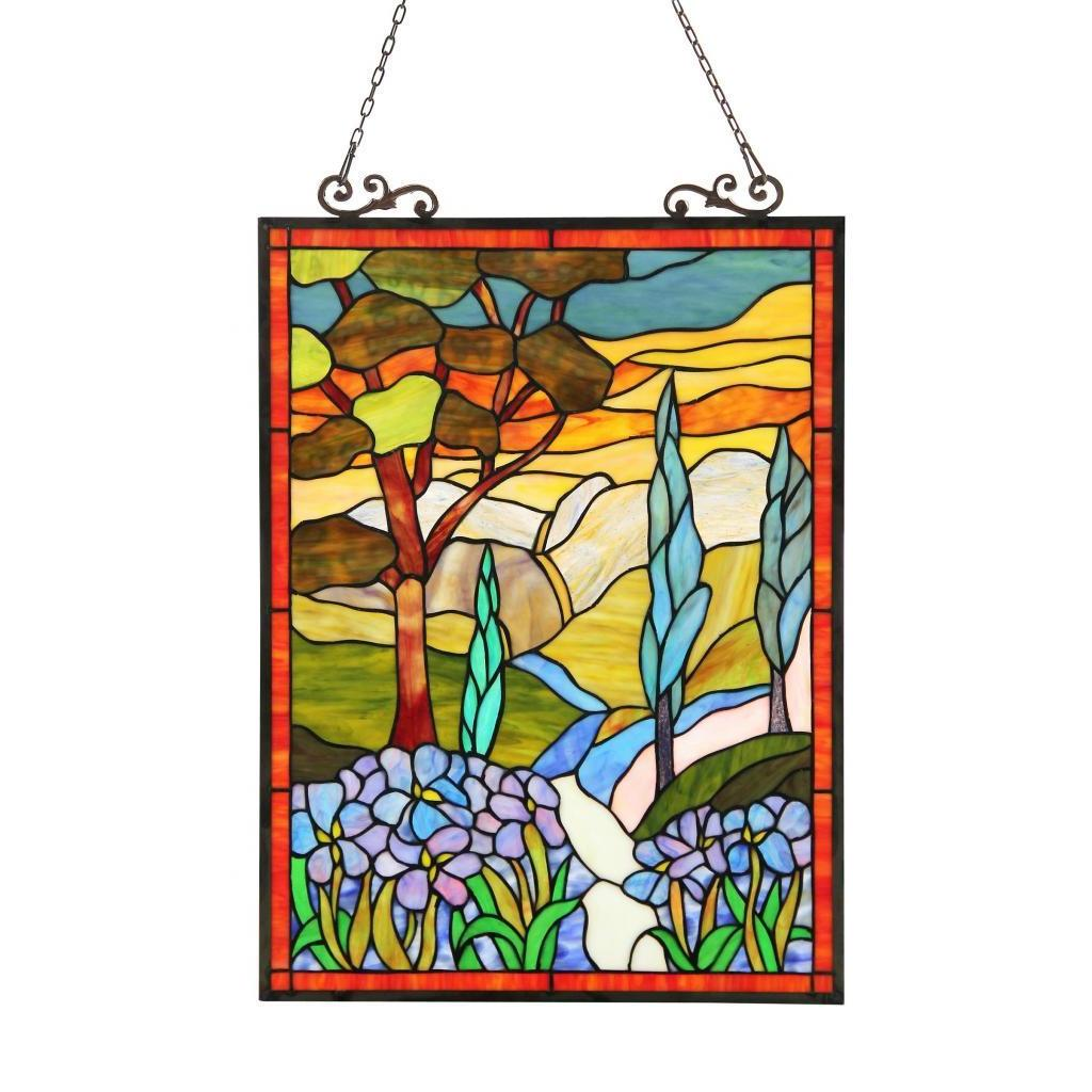 Chloe Tiffany-style Country Scene Rectangular Window Pane...