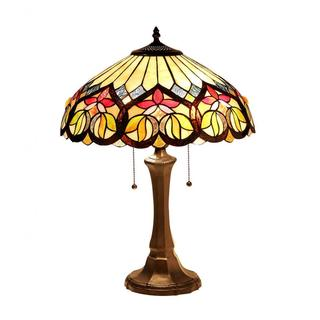 Tiffany-style Victorian Design Dark Bronze 2-light Table Lamp