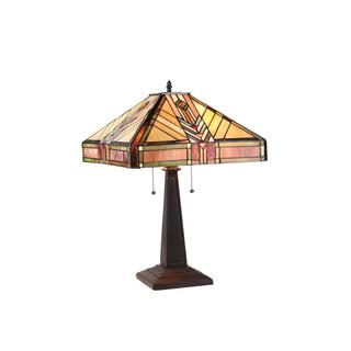 Tiffany-style Mission Design Dark Bronze 2-light Table Lamp
