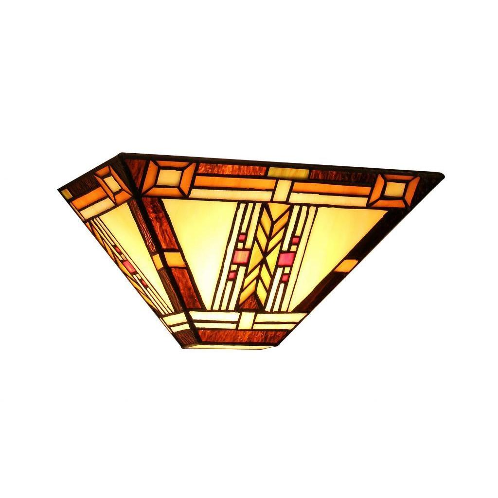 Tiffany Style Mission Design 1 Light Wall Sconce Stained Glass Ebay