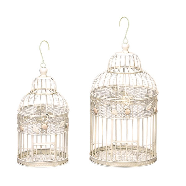 Off White Decorative Metal Bird Cages Set Of 2