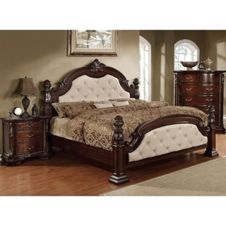 Furniture of America Kassania Luxury Leatherette Four Poster Bed