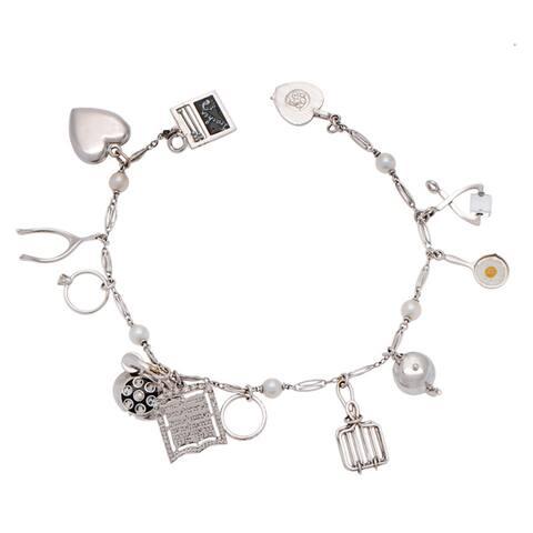 14k White Gold Estate Freshwater Pearl Charm Bracelet (4-5 mm)