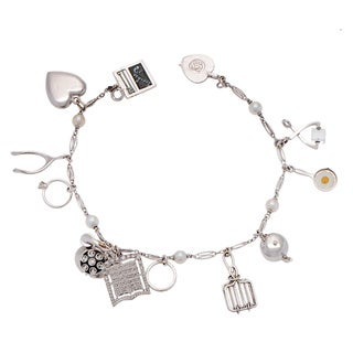 Pre-owned 14k White Gold Estate Freshwater Pearl Charm Bracelet (4-5 mm)