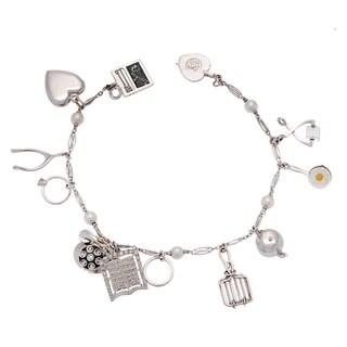 Pre-owned 14k White Gold Estate Freshwater Pearl Charm Bracelet (4-5 mm)