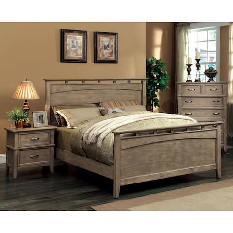 Furniture of America Shoreline 2-Piece Weathered Oak Bed with Nightstand Set