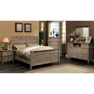 Furniture of America Shoreline 4-Piece Weathered Oak Bed Set