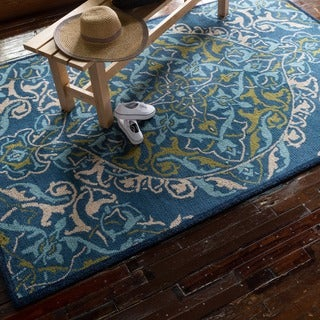 Hand-hooked Tessa Blue/ Lime Rug (9'3 x 13'0)