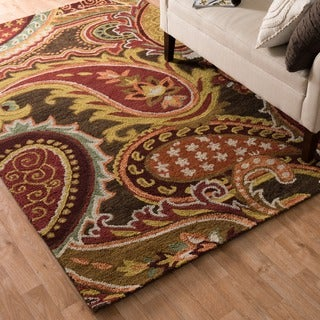 Hand-hooked Tessa Brown/ Multi Rug (3'6 x 5'6)