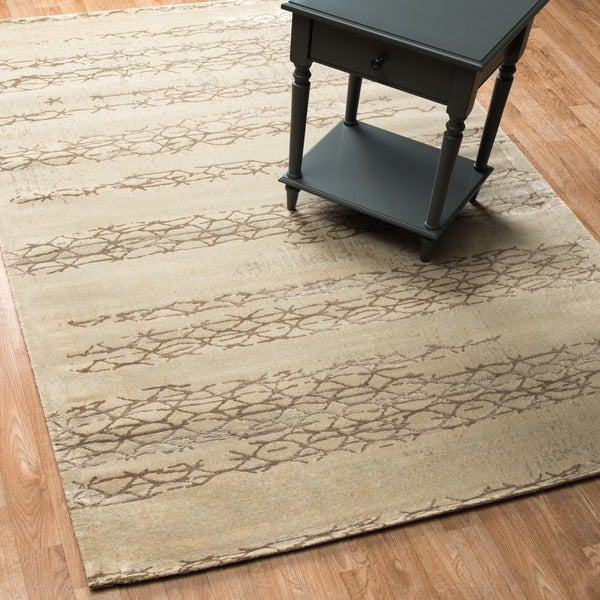 Vintage Glam Ivory/ Mocha Abstract Area Rug - 5' x 7'6""