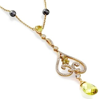 Annello 18k Rose Gold Lemon Quartz and 1 1/10ct TDW Diamond Necklace with Tahitian Pearl Accented Chain
