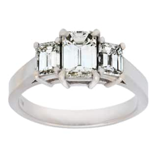 pre owned 18k white gold 1 34ct tdw three stone engagement ring - Overstock Wedding Rings