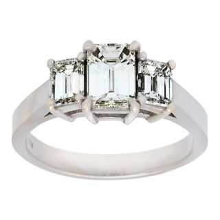 preowned 18k white gold 1 34ct tdw threestone engagement ring