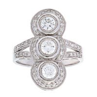 Pre-owned Platinum 1 1/3ct TDW White Diamond Three-stone Ring (H-I, SI1-SI2)