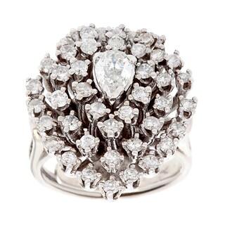 Pre-owned 14k White Gold 1 1/2ct TDW Diamond Estate Cocktail Ring (I-J, SI1-SI2)