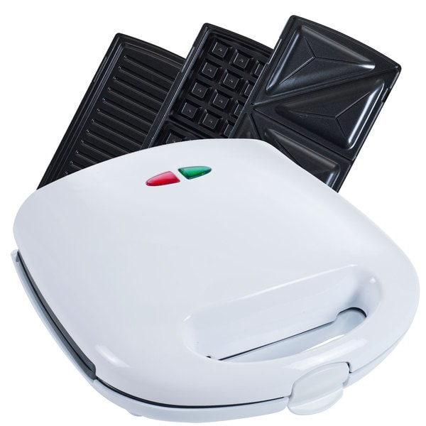 Chef Buddy White 3-in-1 Electric Waffle Maker Sandwich Panini Press