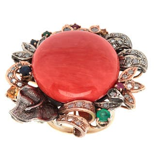 Pre-owned 14k Yellow Gold 2/3ct TDW White Diamond and Gemstone Giant Coral Floral Antique Ring (N-O,|https://ak1.ostkcdn.com/images/products/9173684/P16349926.jpg?impolicy=medium