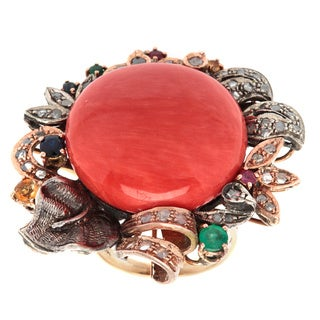 Pre-owned 14k Yellow Gold 2/3ct TDW White Diamond and Gemstone Giant Coral Floral Antique Ring (N-O,