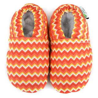 Chevron Soft Leather Sole Orange Baby Shoes