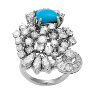 Pre-owned Platinum 3ct TDW White Diamond and Turquoise Cocktail Ring (G-H, VS1-VS2)