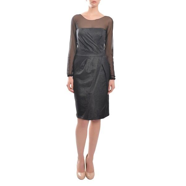 e3d9443a Escada Women's Classic Style Pleated Long Sleeve Illusion Cocktail  Dress