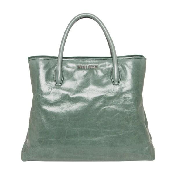 Miu Miu Vitello Glossy Leather Tote Handbag