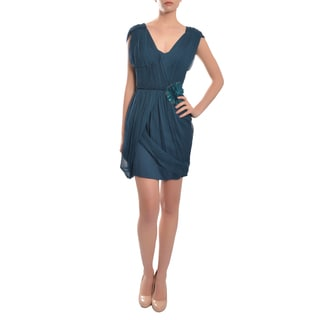 Vera Wang Women's Label Draped Chiffon Cocktail Evening Dress