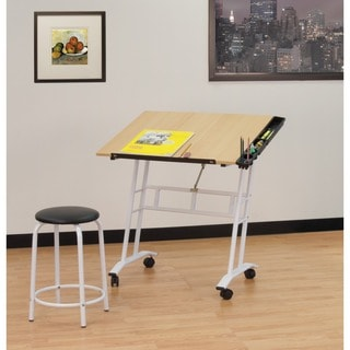 Studio Designs Rolling Drafting and Hobby Craft Center with Stool