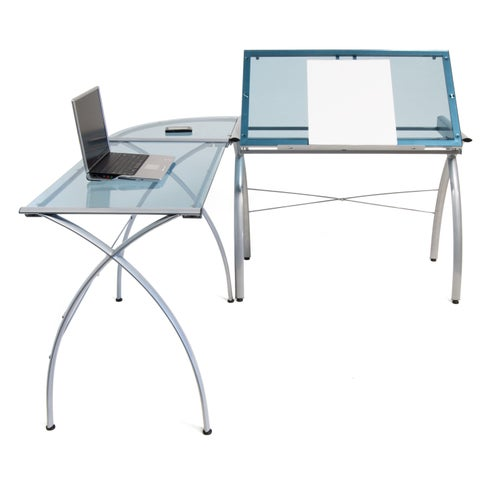 Studio Designs Futura LS Silvertone/Clear Metal/Glass Drafting Table Work Center