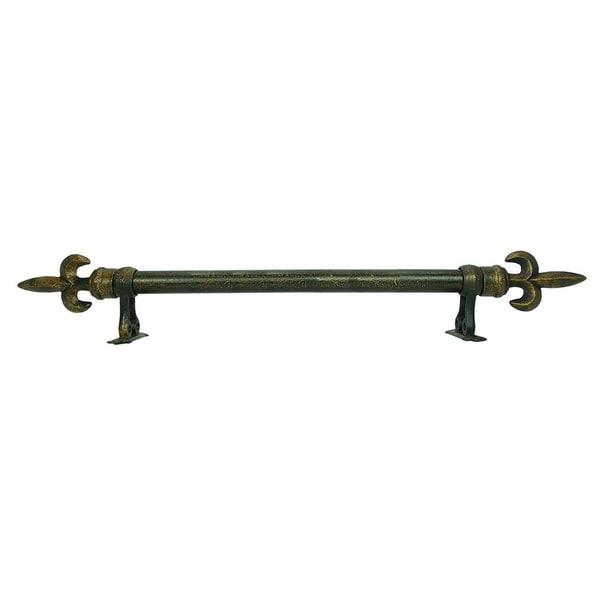 Small Fleur De Lis Finial Adjule Antique Bronze Rod Set