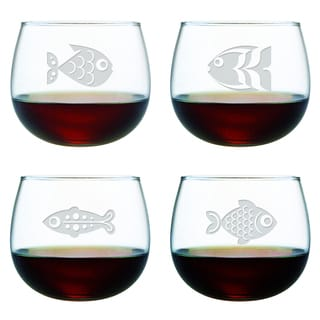 Fish 13-ounce Stemless Wine Glasses (Set of 4)