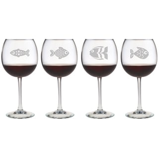 Fish Assortment Red Wine Glasses (Set of 4)