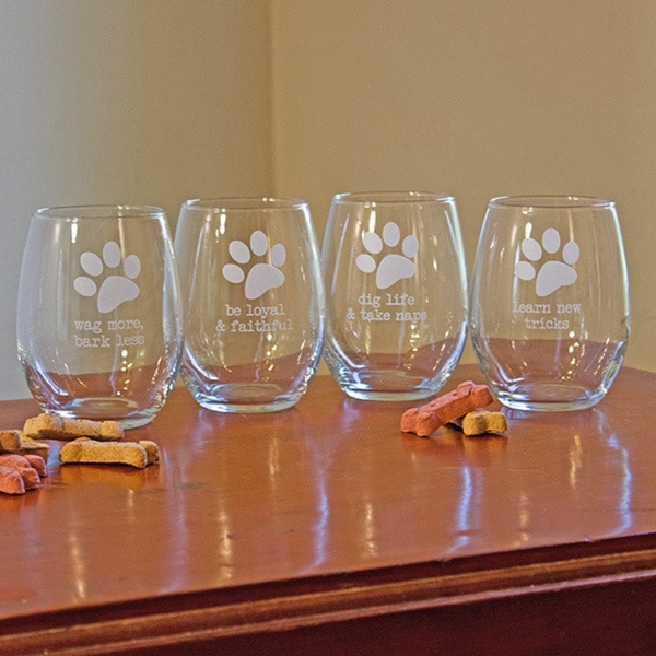 shop dog wisdom stemless wine glasses set of 4 free shipping on