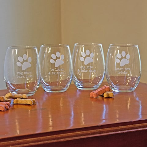 Dog Wisdom Stemless Wine Glass (Set of 4)