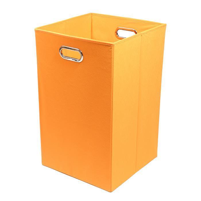 Modern Littles Bold Solid Orange Folding Laundry Basket (...
