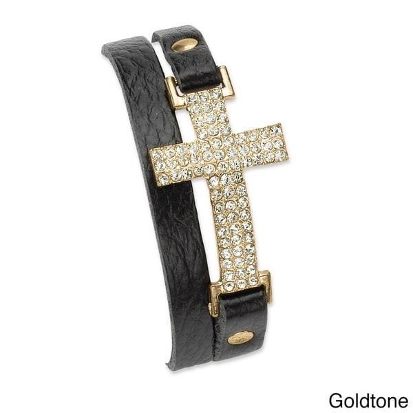 Crystal Accent Yellow Goldtone or Silvertone Double-Wrap Leather Cross Bracelet Adjustable