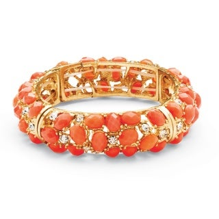 PalmBeach Tangerine Cabochon and Crystal Stretch Bracelet in Yellow Gold Tone Bold Fashion