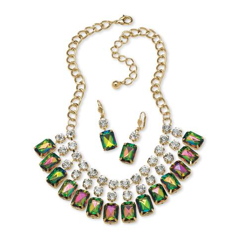 "Gold Tone Bib Bib Necklace (40mm), Emerald Cut Mystic Fire, Crystals, 18"" Adjustable"