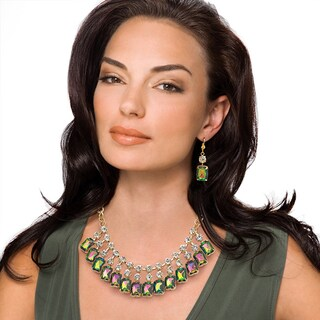 Emerald-Cut Mystic Crystal Bib Necklace and Earrings Set in Yellow Gold Tone Bold Fashion