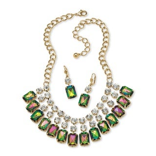 PalmBeach Emerald-Cut Mystic Crystal Bib Necklace and Earrings Set in Yellow Gold Tone Bold Fashion