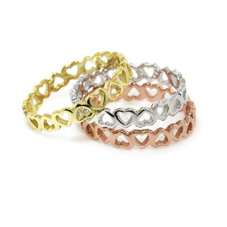 Eternally Haute Heart to Heart Sterling Silver Eternity Ring