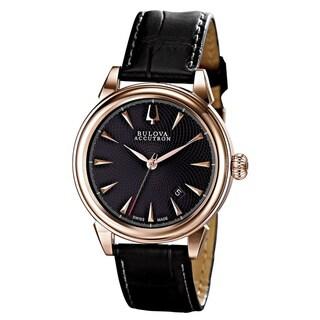 Bulova Accutron Men's 64B116 Gemini Black Leather Automatic Watch