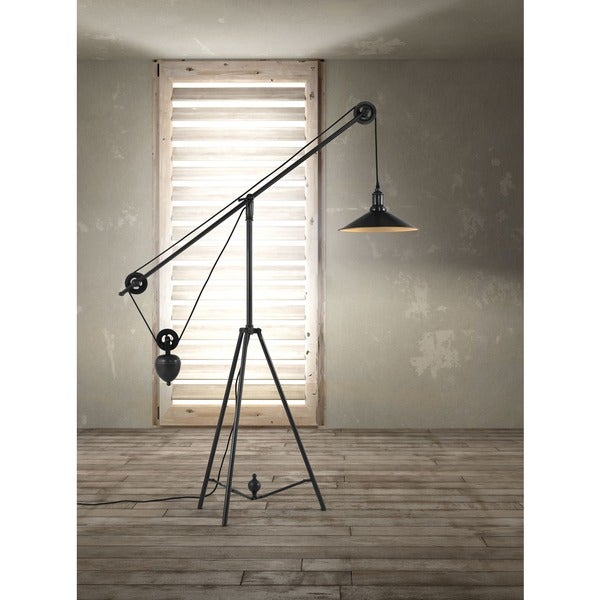 Shop Antique Black Gold Jasper Adjustable Floor Lamp