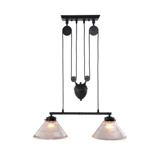 Antique Black Gold Metal Garnet Ceiling Lamp