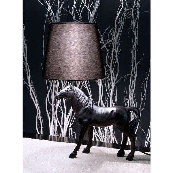 Coppola Black Polyresin Horse Table Lamp