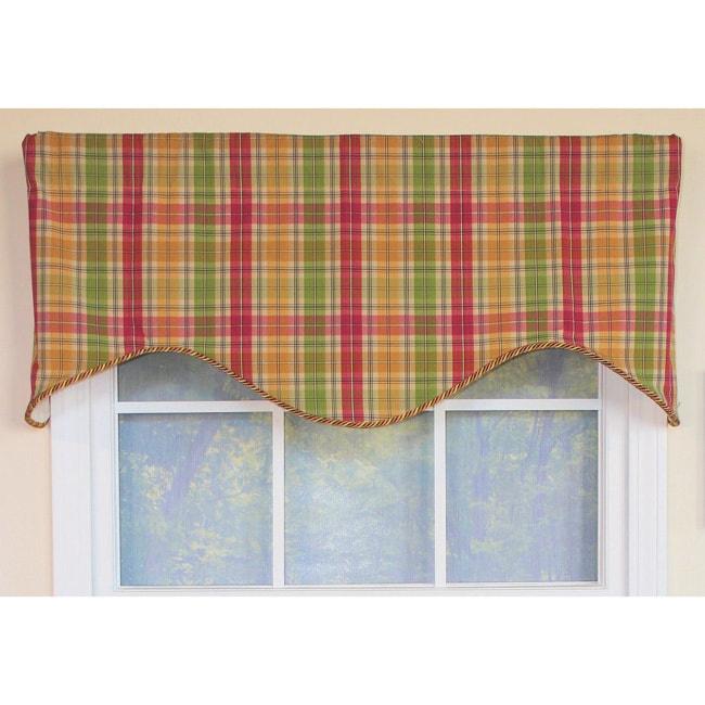 RLF HOME Flamingo Plaid Cornice Window Valance (Multi)