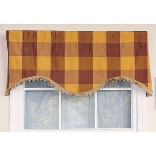 Pascal Check Bronze Cornice Window Valance