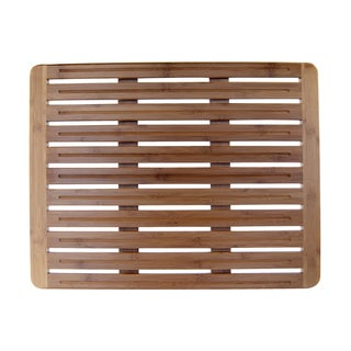 Natural Bamboo 20 x 26 Wood Nonskid Bath Mat