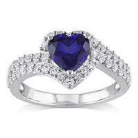 Miadora Sterling Silver Created White and Blue Sapphire Heart Halo Crossover Ring