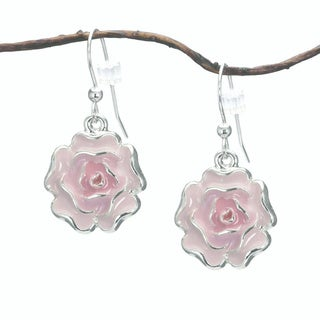 Handmade Jewelry by Dawn Pink Enamel Flower Dangle Earrings (USA)
